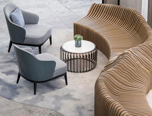 Wooden lobby seating – hotel FF&E furniture