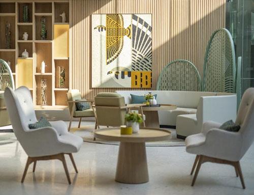 Round lobby sofa contract FF&E furniture