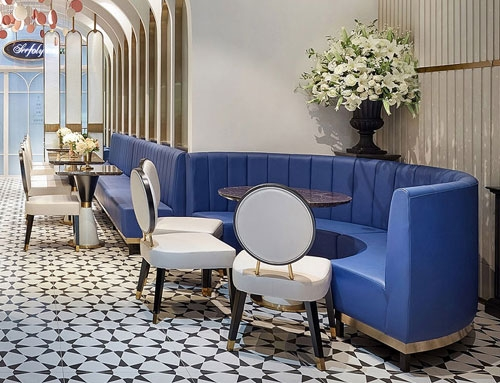 Restuarant blue leather luxury booths – Custom project furniture manufacturers