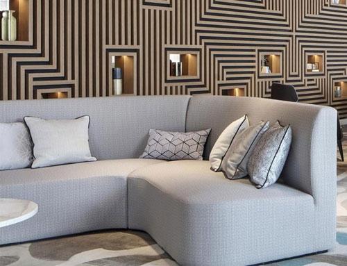 Hotel lobby sofas mid century