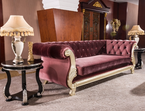 antique purple velvet chesterfield sofa set