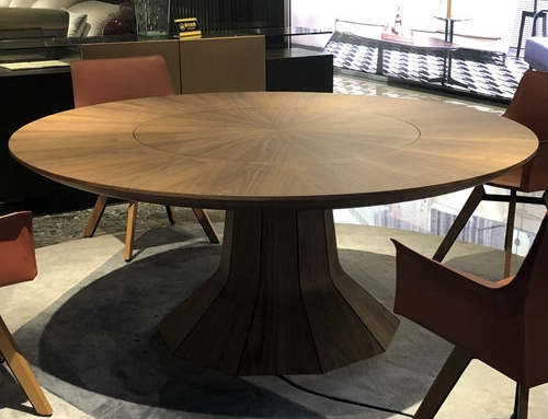 Bespoke walnut round dining table – mid century