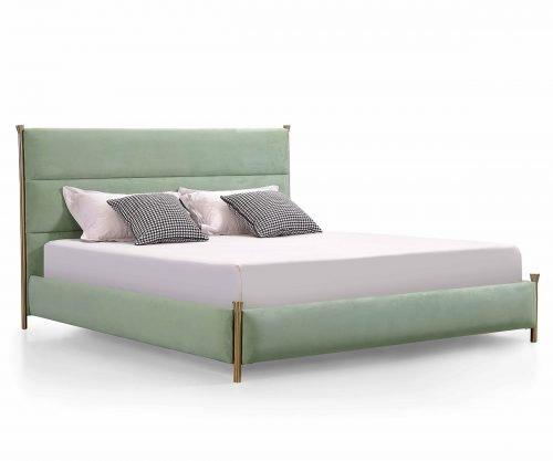 modern velvet green bed